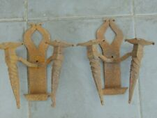 PAIR ANTIQUE FRENCH HAND FORGED MEDIEVAL GOTHIC STYLE WALL CANDLE SCONCES