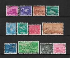 1955 Queen Elizabeth II SG354 & SG369 set of 12 Stamps Fine Used INDIA