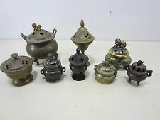 8 Vintage Brass & Pot Metal Incense Burners/Pots- Asian & India Design