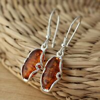 Cognac Baltic Amber 925 Sterling Silver Dangle Drop Earrings Jewellery