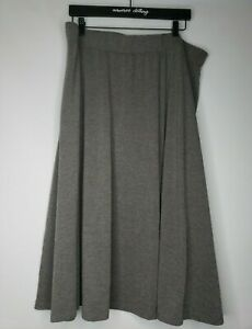 Sweet Salt Modest Gray Midi Skirt Plus Size 3X Flare Solid Rayon Stretch Blend