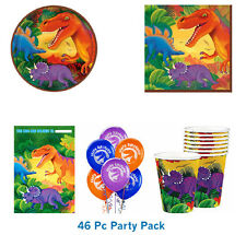 DINOSAUR PARTY SUPPLIES 46 PC PACK PLATES, NAPKINS, LOOT BAGS CUPS BALLOONS