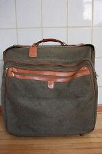 "Hartmann 48"" luggage tweed leather wheeled rolling wheels case"