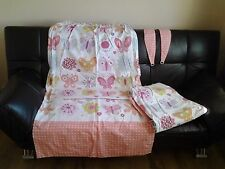 Butterfly/Flowers & Hearts  Bonded Type Lined Curtains &Tiebacks W62 X 68L