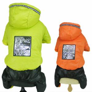 Cute Pet Dog Jumpsuit Hoodie Down Jacket Warm Fleece Puppy Cat Coat Clothes New