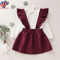 2Pcs Infant Baby Girl Kid Floral Dress Clothes T-shirt Tops Skirt Outfits Set US