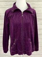 Jane Ashley Velour Jacket Womens Medium M Purple Solid Long Sleeve Zipper Zip