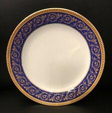 Four Sorelle Fine Porcelain Salad Plates with a Blue and Gold Border