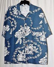 Point Zero Men XL Hawaiian Shirt Corduroy Fabric Blue & White Floral