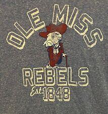 Retro Brand 2XL blue Ole Miss Rebel college football men's t-shirt