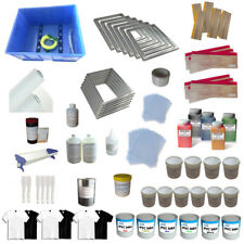 6 Color Screen Printing Materials Kit Silk Screen Mesh scoop Coater Press Ink