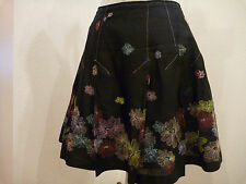 Beautiful detail! Black w/ multi color embroirdered flowers, lined, Size S skirt