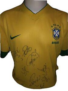 Signed Rare Brazil Squad Shirt Neymar David Luiz Sandro Pato