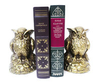 """Brass Owls Bookends Mid Century Modern 6 7/8"""" x 5 1/8"""" x 3"""""""