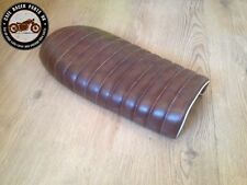 BROWN LEATHER LOOK CAFE RACER SEAT BRAT STYLE +MULTI FIT BRACKETS *  PROJECT KIT
