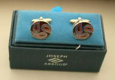 Joseph Abboud Handsome Paisley Round Cufflinks New NOS Box $55 Val Cuff Link