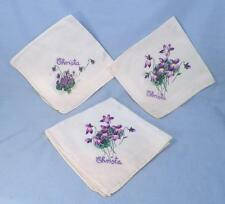 3 Violet Flowers Hankies Monogram Christa Cotton Printed Vintage