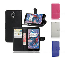 PU Leather Black Book Wallet Flip Stand Case Cover For OnePlus 3 3t + Card Slots
