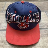 Cleveland Indians Vintage Snapback Hat Spell Out Logo Chief Wahoo Red Navy