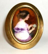 Antique Porcelain Brooch Hand Painted 14K Gold Victorian Edwardian 50 Grams