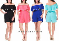 Plus Size Off Shoulder Ruffle Dress Romper Wide Leg Shorts Mini Jumpsuit