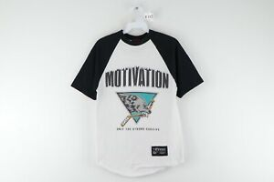 Vintage Motivation Streetwear Mens Small Spell Out Hockey Wolf Raglan T Shirt