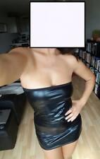 Damen Sexy Partykleid Minikleid Lederlook Club GoGo Schwarz Gr. S/M