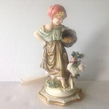 Capodimonte Porcellane Principe Figurine Peasant Feeding Chicken L. Cazzola