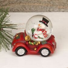 Snowman Driving a Red Car Small Christmas Snow Globe