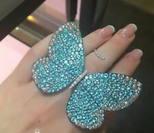 925 Sterling Silver Customized Blue Wide Butterfly CZ Engagement Ring Free Shipp