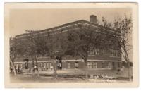 Vintage Postcard RPPC Hillsboro Kansas High School w/ Students Real Picture J20
