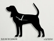 Black and Tan Coonhound Dog Silhouette - Wall Clock