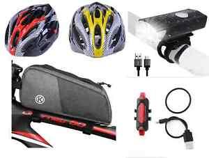 Fahrrad Verkehrsicherheits Set !!! Helm, Lampen-Set, Fahrradtasche Angebot