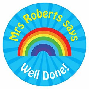110 Personalised Teacher Reward Stickers for Pupils Blue Rainbow well done