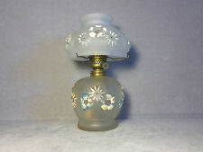 Antique Miniature Gwtw Satin Glass Cosmos Oil Lamp With Painted Decoration