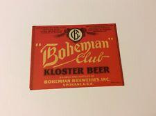 Bohemian Club Kloster Beer Irtp Label Bohemian Breweries Inc. Spokane Wash.