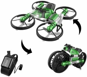 Leap 2-in-1 Land Travel Air Flight Deformation Motorcycle Quadcopter; Drone