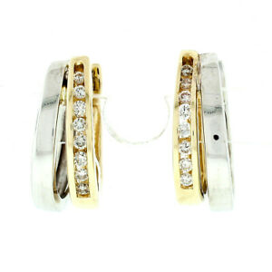 14k Two Tone Gold 0.24ctw Round Diamond Channel Snap Split Hoop Huggie Earrings