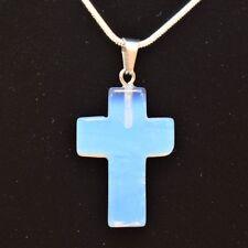 "Opalite Crystal Cross Pendant + 20"" Silver Chain"
