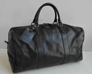 New $1295 RALPH LAUREN COLLECTION Black Leather Large Duffle Weekend Travel Bag