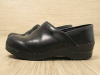 Dansko Black Leather Shoes Women's Size US 6-7 EUR 37 Slip-On Clogs Loafers