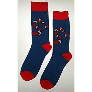 NWT Red Snake Dress Socks Novelty Men 8-12 Blue Fun Sockfly