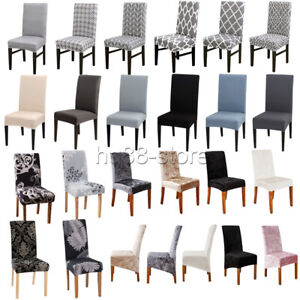 Velvet Dining Chair Seats Covers Slip Stretch Wedding Banquet Party Removable UK