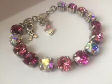 Swarovski Crystal Elements Breast Cancer Pinks Bracelet 8mm Silver Cup Chain