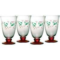 Lot of 4 Pfaltzgraff Winterberry 14Oz Water Goblets Etched Xmas HP NEW w Box