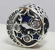Autentico Pandora Charm Luna Y Estrellas Azul Abalorio Plata de primera ley 925