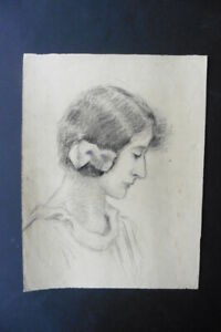 FRENCH SCHOOL 19thC - PORTRAIT OF A YOUNG WOMAN - CHARCOAL DRAWING