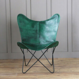 Green Genuine Leather Living Room Butterfly Chair, Home Chair, MS Stand Chair