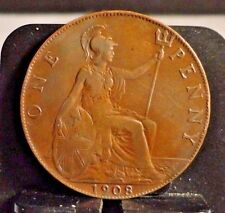 CIRCULATED 1908 1 PENNY UK COIN (110816)1