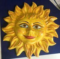 Sole in ceramica di santo stefano diametro 30 cm allegria , speranza, con gancio